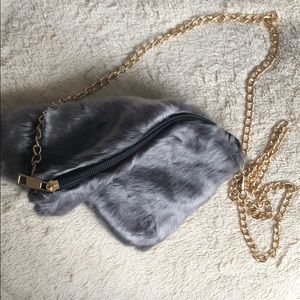 800aa5d0fd PrettyLittleThing Bags - Gray Faux furry Soft Gold Chain Shoulder Bag
